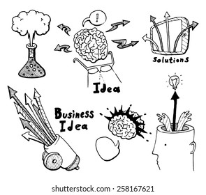 Business planning doodles icons set. Innovate concept, brainstorming, start up development, new solutions. Hand drawn vector illustration.