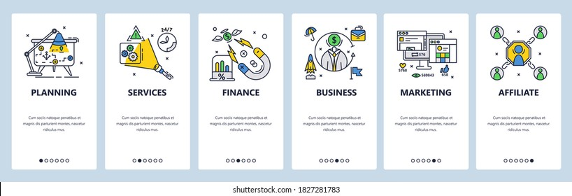 Business planning, finances, services and marketing. Business success strategy. Mobile app onboarding screens. Vector banner template for website and mobile development. Web site design illustration.
