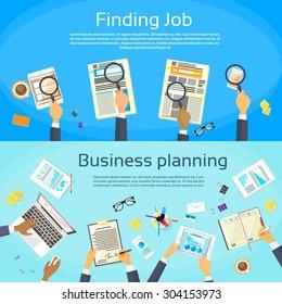 Business Planning Searching Job Web Banner Flat Vector Illustration