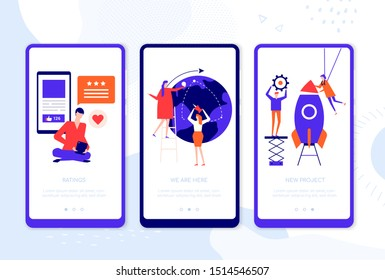 Business planning - set of vector web pages for smartphone. Rating, we are here, new project app walkthrough steps. Clients giving review, startup launch, office location phone interface illustrations