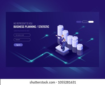 Business planning, statistic, illustration with two businessman, team leader and common efforts, e commerce success isometric vector ultraviolet