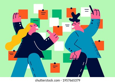 Business planning and teamwork concept. Young smiling man and woman Business colleagues discussing future priorities and projects together vector illustration