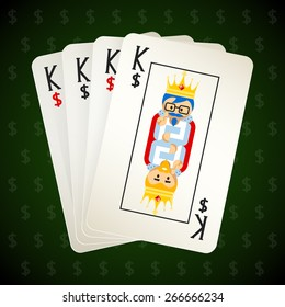 Business playing cards. Four kings. Casino and game, poker and square, success and idea. Vector illustration