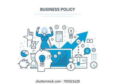Business policy aimed at increasing sales, growth and business development, requiring leadership and growth. Technology success. Illustration thin line design of vector doodles