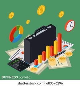 Business portfolio, financial statistics, analysis, management flat 3d isometric vector concept illustration