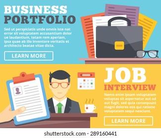 Business portfolio, job interview flat illustration concepts set. Flat design concepts for web banners, web sites, printed materials, infographics. Creative vector illustration