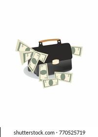 Business portfolio with money