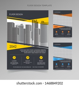 Business poster flyer pamphlet Template Design with 3 color choices, organized layer