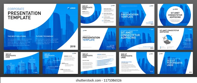 Business powerpoint presentation design templates set. Use for keynote presentation background, brochure design, website slider, corporate report, company profile, facebook banner.