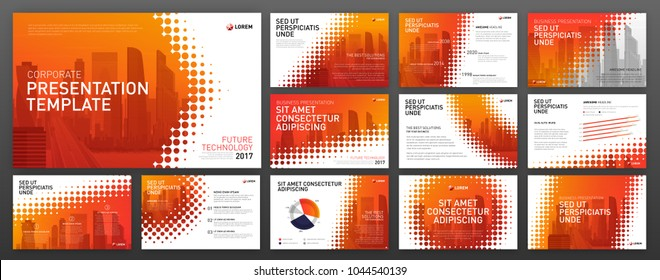 Business powerpoint presentation templates set. Use for keynote presentation background, brochure design, website slider, landing page template, annual report.