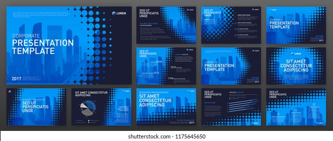 Business powerpoint presentation templates set. Use for keynote presentation background, brochure design, website slider, corporate report, company profile.