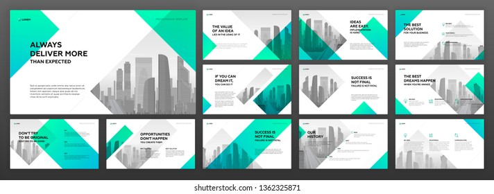 Business powerpoint presentation templates set. Use for modern keynote presentation background, horizontal brochure design, website slider, landing page layout, annual report cover, company profile.