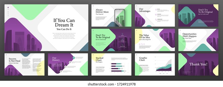 Business powerpoint presentation templates set. Use for modern keynote presentation background, brochure design, website slider, landing page, annual report, company profile, portfolio, booklet.