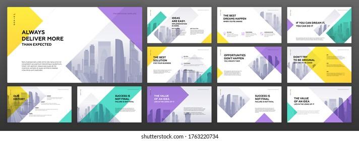 Business powerpoint presentation templates set. Use for modern keynote presentation background, brochure design, website slider, landing page, annual report, company profile, portfolio, banner.