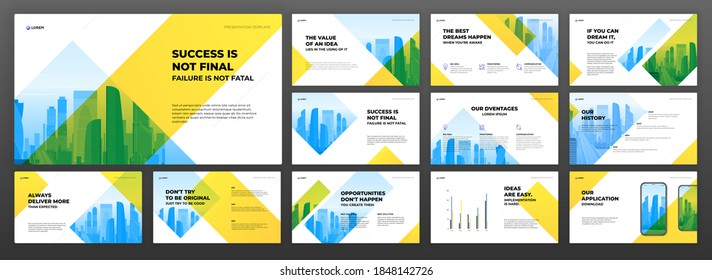 Business powerpoint presentation templates set. Use for modern keynote presentation background, brochure design, website slider, landing page, annual report, company profile, powerpoint.