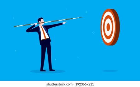 Business practice - Businessman practicing hitting bullseye in target. Vector illustration.