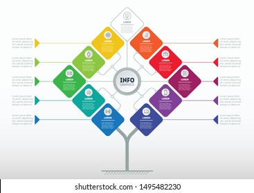 Business presentation concept with 10 or 11 options. Web Template of info chart or diagram. Vector infographic of technology or education process with ten steps.