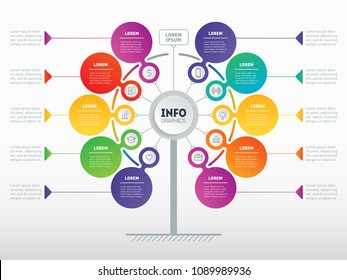 Business presentation concept with 10 options. Web Template of service tree, info chart or diagram. Vector infographic of technology or education process with 10 steps.