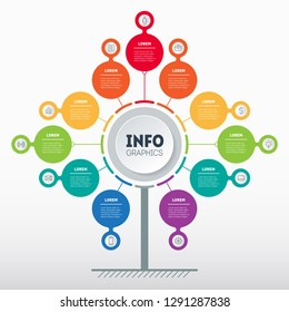 Business presentation concept with 11 options. Web Template of service tree, info chart or diagram with eleven process. Vector infographic of technology or education with 11 steps.