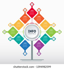 Business presentation concept with 11 options. Template of tree, info chart or diagram with eleven process. Vector infographic of technology or education with 11 steps.