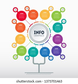 Business presentation concept with 12 options. Web Template of tree, info chart or diagram with twelve processes. Vector infographic of technology or education with 12 steps.