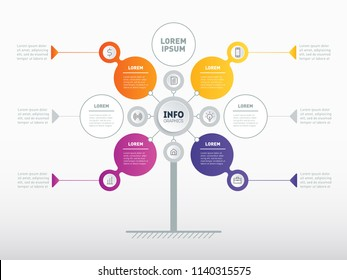 Business presentation concept with 4, 6 or 7 options. Web Template of service tree, info chart or diagram. Vector infographic of technology or education process with 4, 6 or 7 steps.