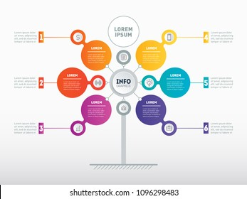 Business presentation concept with 6 options. Web Template of service tree, info chart or diagram. Vector infographic of technology or education process with 6 steps.