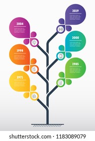 Business presentation concept with 6 options. Marketing strategy. Web Template of tree, info chart or diagram with 6 process. Vector infographic of technology or education with six steps.
