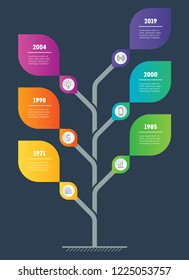 Business presentation concept with 6 options. Web Template of tree. Vector infographic of technology or education process with 6 steps.