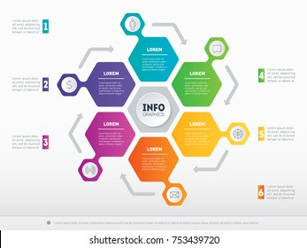 Business presentation concept with 6 options. Web Template of a circle info chart or diagram. Part of the report with icons set. Vector infographic of technology or education process with 6 steps