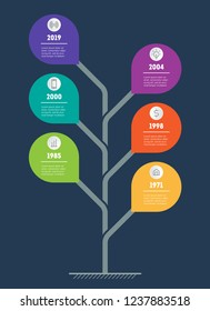Business presentation concept with 6 points. Web Template of tree with leafs, info chart or diagram. Vector. Infographic of technology or education process with 6 steps.