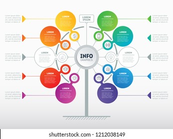 Business presentation concept with 8 or 10 options. Web Template of tree, info chart or diagram. Vector infographic of technology or education process with 8 or 10 steps. Brochure design template.