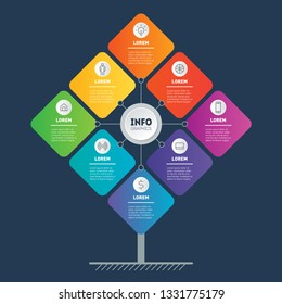 Business presentation concept with 8 options. Brochure design template. Web Template of tree, info chart or diagram. Vector infographic of technology or education process with 8 steps.