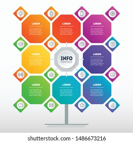 Business presentation concept with 8 options. Brochure design template. Web Template of tree, info chart or diagram. Vector infographic of technology or education process with 8 steps and 16 icons.