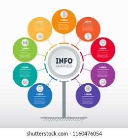 Business presentation concept with 9 options. Web Template of service tree, info chart or diagram with nine process. Vector infographic of technology or education with 9 steps.