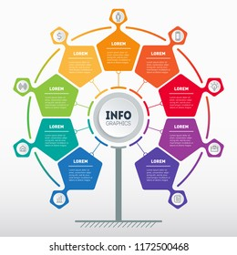 Business presentation concept with 9 options. Web Template of service tree, info chart or diagram. Vector infographic or marketing strategy with 9 points.