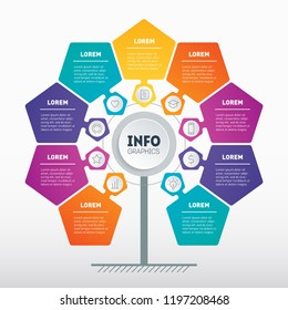 Business presentation concept with 9 options. Web Template of tree, info chart or diagram. Vector infographic of technology or education process with 9 steps. Marketing pipeline.