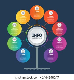 Business presentation concept with 9 options. Template of tree, info chart or diagram with nine process. Infographic of technology or education with 9 steps. Dark background.