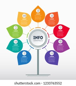Business presentation concept with 9 points. Web Template of tree, info chart or diagram. Vector infographic of technology or education process with 9 options or steps.