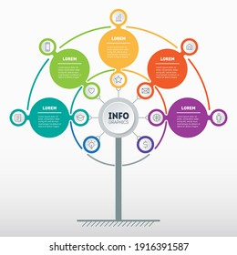 Business presentation concept with five options and 12 icons. Web Template of tree, info chart or diagram with 5 process. Vector infographic of technology or education process with 5 steps.