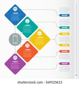 Business presentation concept with five options. Web Template of a info chart or diagram. Vector infographic of technology or education process. Part of the report with icons set