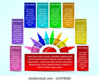 Business Presentation Diagram with eight different colored fields for text and statistics