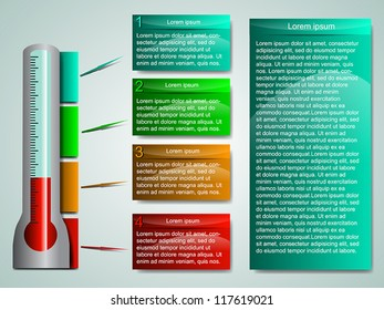 Business Presentation Diagram with four different colored fields for text and statistics