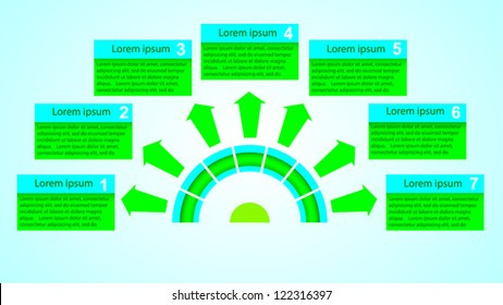 Business Presentation Diagram with seven different colored fields for text and statistics