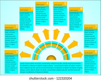 Business Presentation Diagram with six different colored fields for text and statistics