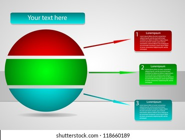 Business Presentation Diagram with three  different colored fields for text and statistics