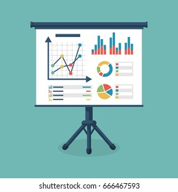 Business presentation icon. Flip chart with growing graph, diagram. Whiteboard isolated on background. Vector illustration flat design. Report screen with market data statistics business strategies.