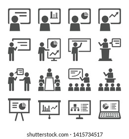 Business Presentation Icon set. Contains such Presenter. Teacher, Audience and more.