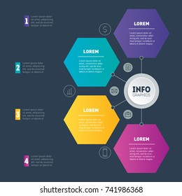 Business presentation or infographic with 4 options. Example of a chart, mindmap or diagram with 4 steps. Vector infographics or mind map of technology or education process on dark background.