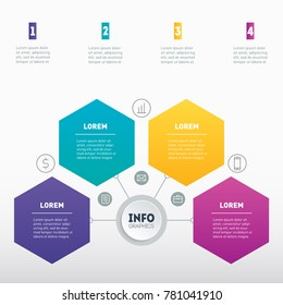 Business presentation or infographic with 4 options. Example of a chart, mindmap or diagram with 4 steps. Vector infographics or mind map of technology or education process. Annual report.